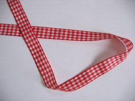 Boerenbont lint rood/wit geruit 15mm