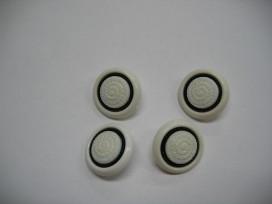 Zwart/wit knoop Wit met cirkel 20mm. zw245