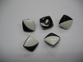 Zwart/witte kunststof knoop. 18 mm. doorsnee.