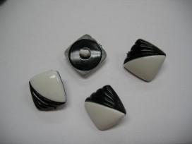 Zwart/witte kunststof knoop. 20 mm. doorsnee