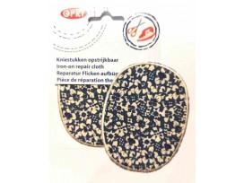 Kniestukken Donkerblauw met witte bloem wit randje 371-50