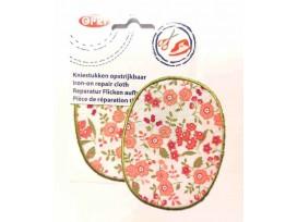 Kniestukken Offwhite  met roze bloemen en groen randje  371-59