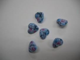 9zr Hartjes knoop Lichtblauw met bloem hart201