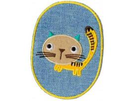 Applicatie jeans ovaal met kat en geel randje