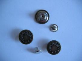 Jeans inslagknoop. Oudbronskleurig, metaal inslagknoop. 16 mm. doorsnee