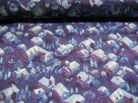 Benartex Paars/blauwe quilt katoen met gouden glitters en een dorpsprint.  100% katoen  1.10 mtr.br.