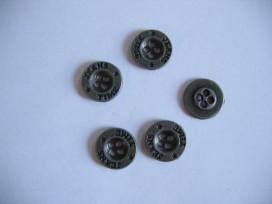 Oudzilver kleurige metalen jeansknoop. 15 mm. doorsnee.