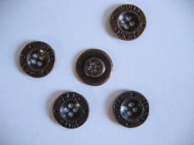 Jeans knoop. Oudbrons kleurige metalen jeansknoop. 18 mm. doorsnee