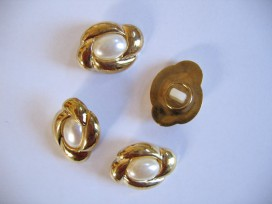 5l Bruidsknoop Goud met wit ovaal 25mm bk414