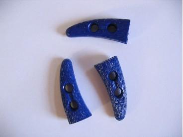 Kobalt kleurige kunststof knebelknoop. 40 x 15 mm.