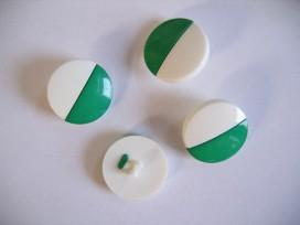 Groen/witte kunststof knoop. 23 mm. doorsnee