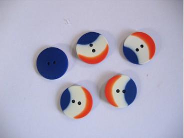 Hollandse knoop. Rood/wit/blauwe kunststof knoop. 20 mm. doorsnee.