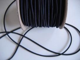 Marine kleurig koord elastiek. 3 mm. Diep donkerblauw, bijna zwart.  De prijs is per meter