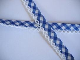5b Biaisband blauwe boerenbont met ruche 21