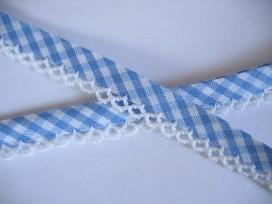 Biaisband Lichtblauw boerenbont met ruche, dubbel 15 mm. br.