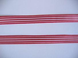 Gestreept sierlint Rood/wit   10mm