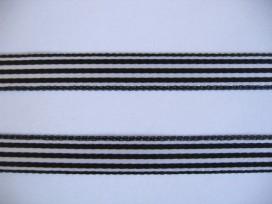 Gestreept sierlint Zwart/wit  10mm