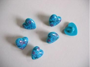 Hartjes knoop Aqua met bloem hart 210