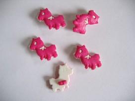 Dieren kinderknoop Hond pink met witte strik kdk12