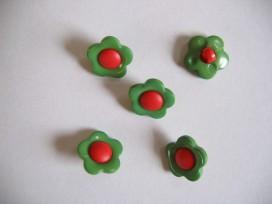 Kinder bloemknoop Groen met rood hart kbk49