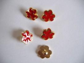 Kinder bloemknoop Goud met rood kbk57