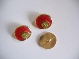 5b Damesknoop Sjiek metaal Rood met goud 18mm dksm231