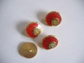 5c Damesknoop Sjiek metaal Rood met goud 15mm dksm232