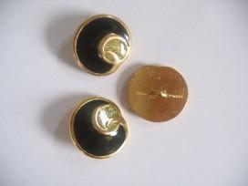 5g Damesknoop Sjiek metaal Zwart met goud 22mm dksm236