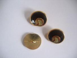 Damesknoop Sjiek metaal Donkerbruin met goud 18mm dksm240