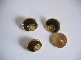 Damesknoop Sjiek metaal Donkerbruin met goud 15mm dksm241