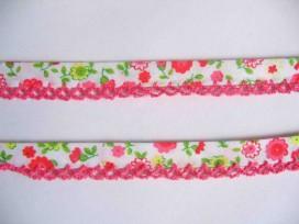5w Biaisband met pink ruche Wit met pink/rode bloem 42