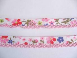 5y Biaisband met roze ruche Wit met multicolor bloem 44