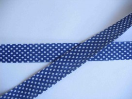 Biaisband Donkerblauw met witte stip