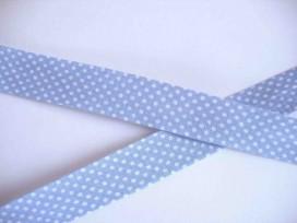Biaisband Lichtblauw met witte stip