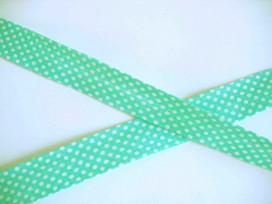 Biaisband Groen met witte stip
