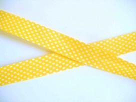 Biaisband Geel met witte stip