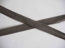 Donkergrijs biaisband van 1.2 cm. breed.