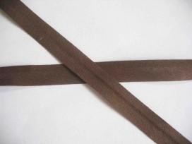 Donkerbruin biaisband van 1.2 cm. breed.
