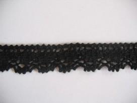 8f Zwart katoen kant lijkt gehaakt 18mm. 955