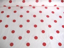 Grote stip katoen Wit/rood 8274
