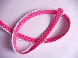 Pinkkleurig biaisband met witte stip en ruche. Dubbel 15 mm. br.