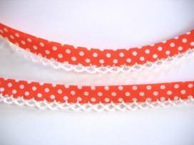 Biaisband Oranje met witte stip en ruche. Dubbel 15 mm. br.