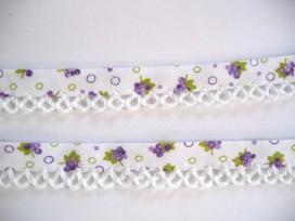 4t Biaisband met witte ruche en paarse bloem 47