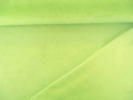 Licht limekleurige Nicky velours.  80%kat./20%pe  1.50 mtr.br.