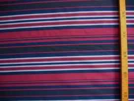Memory stof streep Donkerblauw/rood