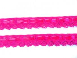 Gekleurd kant met satijnlint  Pink  2cm breed