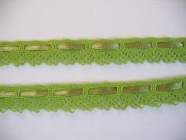 Gekleurd kant met satijnlint  Lime  2cm breed