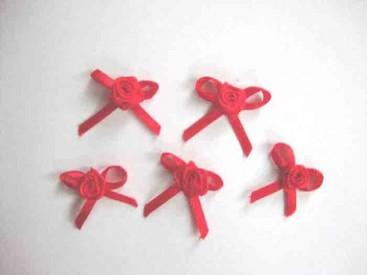Applicatie Roos/strikje Rood roosstrikje RS655