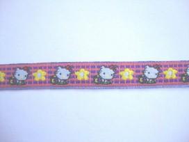 Sierband paars/pink met poes en bloem  12mm