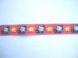 Sierband Hardpink/pink met poes en bloem  12mm
